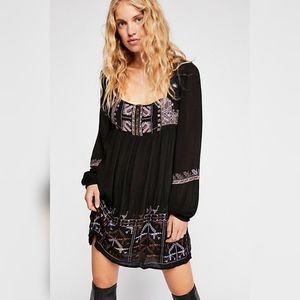 NEW Free People Rhiannon Embroidered Mini Dress
